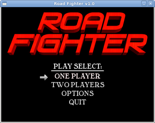 Menú de Road Fighter